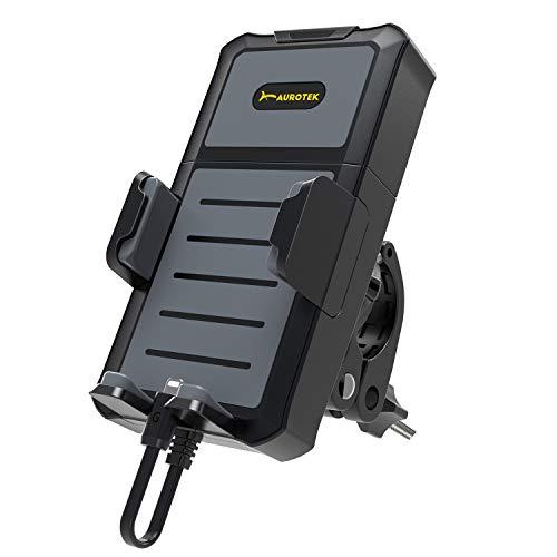 Aurotek GP1 Handy-Halterung für Lenker, geeignet für Fahrrad und Motorrad, Universal, mit tragbarem Akku Samsung 5000 mAh, für Erwachsene, Unisex, Schwarz, groß