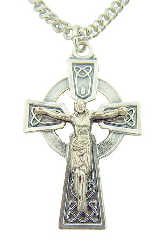 CB Silver Toned Base Irish Ireland Celtic Cross Crucifix Medal, 1 5/8 Inch