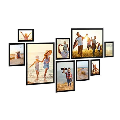PHOTOLINI 9er Bilderrahmen-Set Schwarz aus Massivholz Schmal 10x15 bis 30x40 cm mit Glasscheibe inkl. Zubehör   Bildergalerie   Bilderwand   Wandgalerie