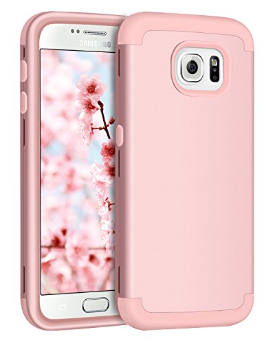 Galaxy S6 Case, Samsung S6 Case, BENTOBEN Shockproof 3 in 1 Hybrid Hard PC Soft Silicone Heavy Duty Rugged Bumper Anti Slip Full-Body Protective Phone Case Cover for Samsung Galaxy S6 G920 Rose Gold