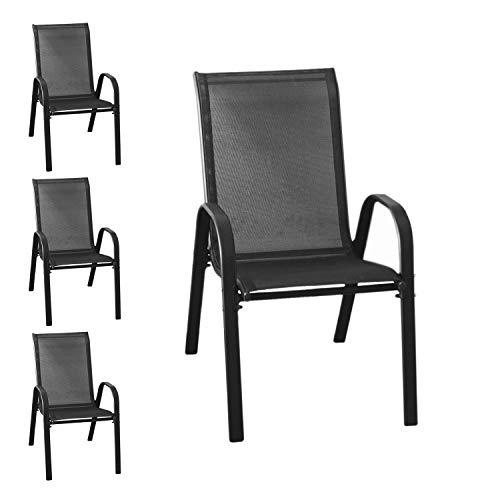 Wohaga® 4er Set Stapelstuhl 'New York', Textilenbespannung Schwarz, Stahlgestell pulverbeschichtet, stapelbar, Gartenstuhl