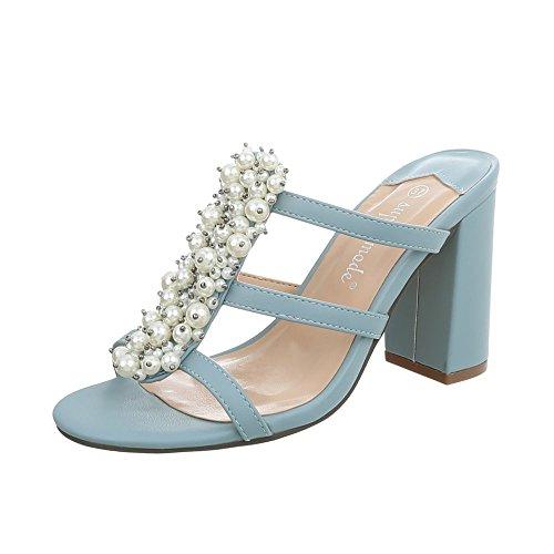 Ital-Design Pantoletten Damen-Schuhe Pump High Heels Sandalen & Sandaletten Hellblau, Gr 39, 9354-