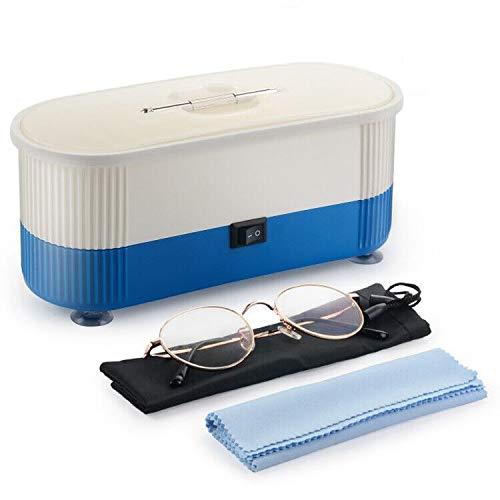 Herefun Ultraschallreiniger Brille, Ultraschallreiniger für Zahnersatz, Ultraschallreiniger für Wasserdichte Uhren, Ultraschallreiniger für Schmuck, Brillenreiniger (Blau)