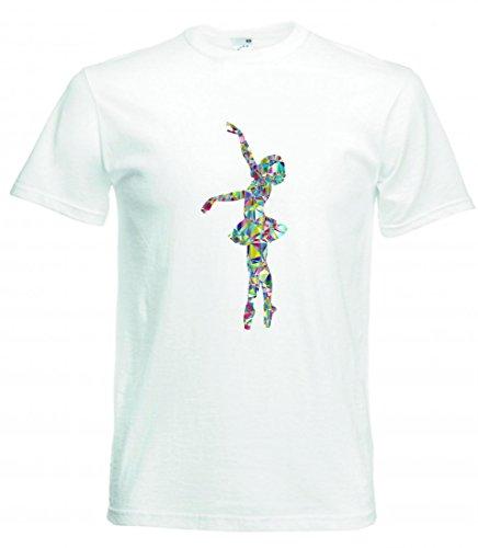 Camiseta de manga corta para el año - ballet - bailarina - danza - bailarina - mujeres - mujeres - mujeres - silueta - salud - entrenamiento para hombre - mujer - niños - 104 – 5XL Blanco Mujer Gr.: Large