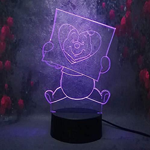 Veilleuses Mignon Winnie L'Ourson 3D Night Light Led Couleur Illusion Enfants Enfants Nuit Lumière Cadeau D'Anniversaire