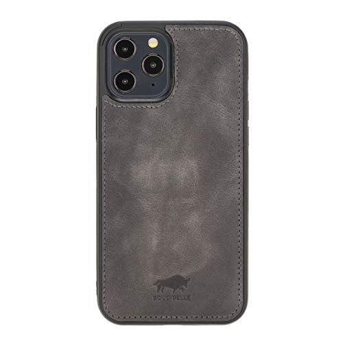 Solo Pelle Lederhülle für das iPhone 12/12 Pro in 6.1 Zoll Stanford Hülle Leder Hülle Ledertasche Backcover aus echtem Leder (Steingrau Burned)