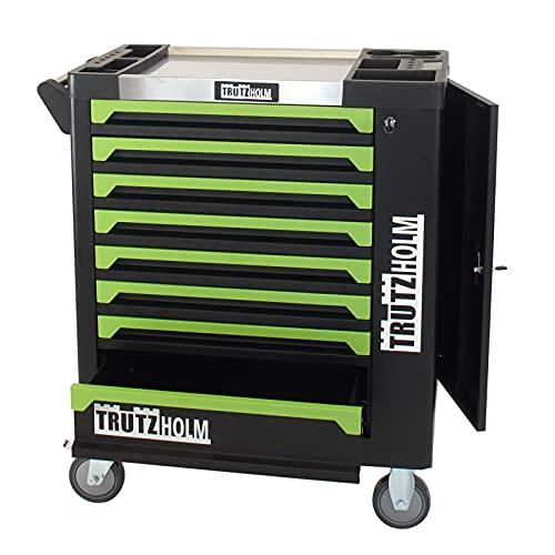 TrutzHolm® Werkstattwagen Grün Leer 8 Schubladen robust und vielseitig einsetzbar Werkzeugwagen Werkzeugkasten Werkzeugkiste