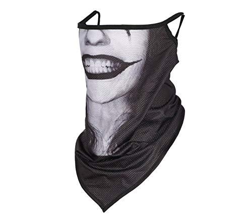 Alsino Masque de protection buccal en différents motifs avec supports d'oreille pour un maintien ferme, respirant, extra long, couvre également le cou (joker).