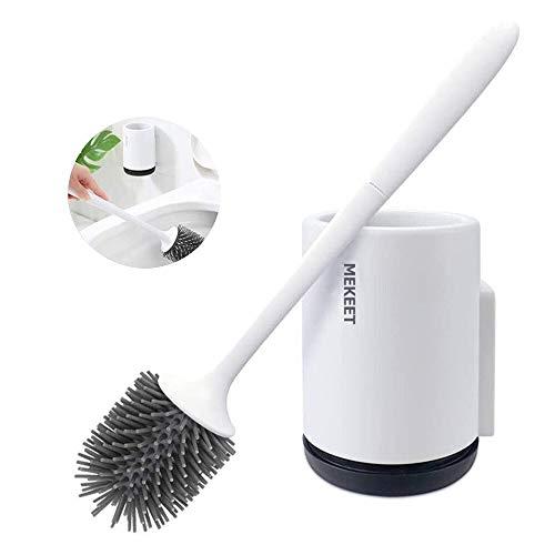 MEKEET Escobilla y Soporte para Inodoro de Silicona, Juego de portaescobillas para Inodoro para baño, Set de escobilla para Inodoro de Silicona con Soporte de Secado rápido.