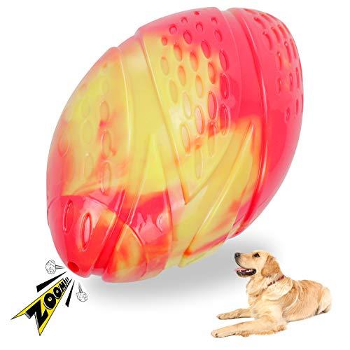 Quietschendes Hundespielzeug für Aggressive Kauer,Gummi Kauspielzeug,für mittelgroße und große Rassen Interaktives Spielzeug,langlebiges Federndes Haustierspielzeug Bälle (rot)