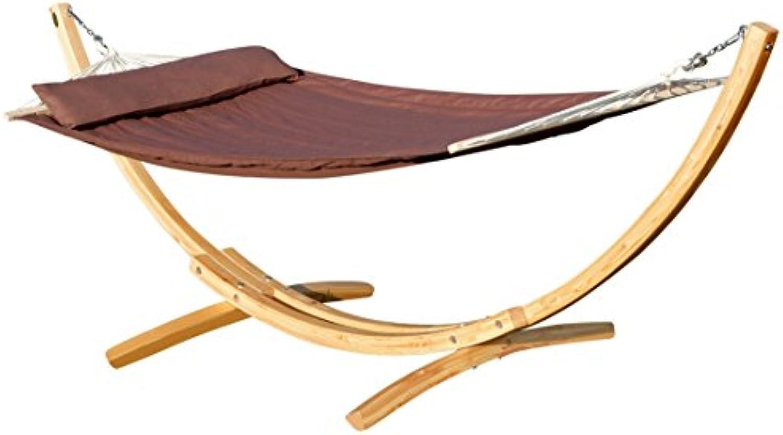 ASS 320cm Hngemattengestell XL Limited Edition aus Holz Lrche Natur mit Stab Hngematte braun gefüttert und Polster Schrauben aus Edelstahl von