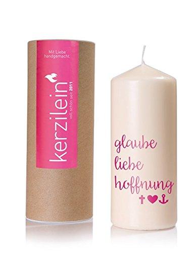Kerzilein Hochzeitskerze Flamme, pink, GLAUBE LIEBE HOFFNUNG HO