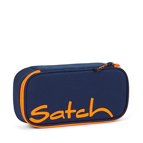 Satch Schlamperbox Toxic Orange, Mäppchen mit extra viel Platz, Trennfach, Geodreieck, Blau