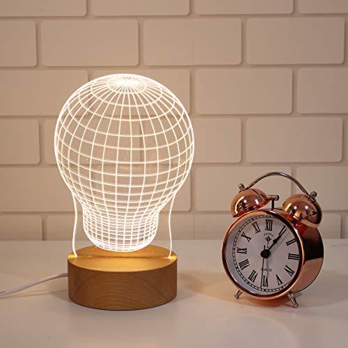 Uonlytech 1PC Solid Wood Lamp Geschenke Dekoration Lampe 3D LED Night Light Long Time Use Beleuchtung Verwenden Tischlampe für Home Party Schlafzimmer Bar