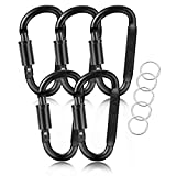 Aluminum Carabiner Clips 5PCS Black D Shape, Carabiner Hooks with 5PCS Nickel Plated Key Rings Alloy Keychain Buckles