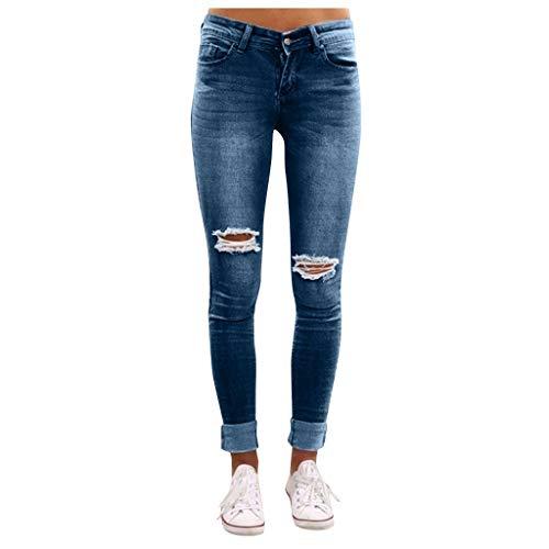 Skinny Jeans Damen Hell Farbe Zerrissen Gewaschen Jeanshose Enge Hose Abgenutzt Strumpfhose GreatestPAK,Dunkelblau,38(CN:S)