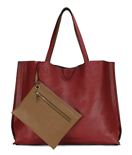 Scarleton Stylish Reversible Tote Handbag for Women, Vegan Leather Shoulder Bag, Hobo bag, Satchel Purse, Burgundy/Khaki, H18422014