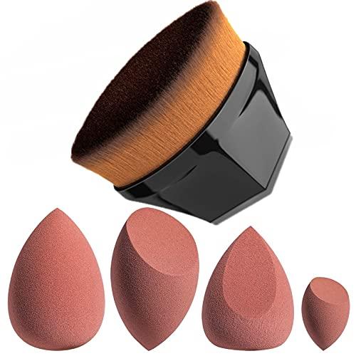JPNK Foundation Makeup Brush with 4 Makeup Sponges Latex-free for Blending Liquid, Cream or Flawless Powder Cosmetics