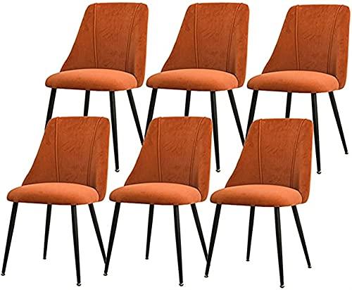 Esszimmerstühle 6er Set Samt Esszimmerstühle Moderne Mid Century Esszimmer Küche Gepolsterte Stühle Rückenstütze Metallbeinen für Home Commercial Restaurants ( Farbe : Orange , Size : Black legs )