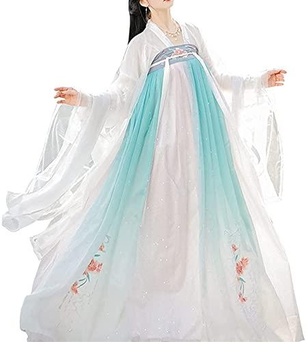JIANMIN HANFU Disfraz tradicional chino hanfu tradicional para nias y mujeres, disfraz de princesa Fariy vestido de fiesta de Halloween Qutfit (color: blanco, tamao: grande)