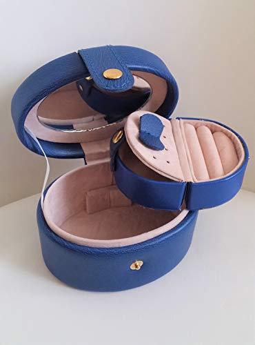 Jewellery Box Schmuck Box Blau Navi Eco Leder Schmuck mit Spiegel Fall luxuriöse Sik Neue