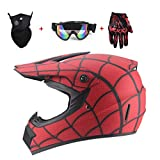 CHAOYUE Certification Dot, Casque de Motocross ATV MX Matte Spiderman Casque Off Road Downhill All Mountain Riding Casque avec Lunettes Masque Gants