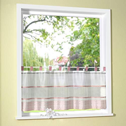 Fashion&Joy - Scheibengardine mit Schlaufen HxB 50x140 cm - Querstreifen marmorisiert auf Organza Bistrogardine Panneaux Gardine Typ411 (HxB 50x140 cm, Rosé)