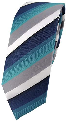 schmale TigerTie Designer Krawatte in türkis petrol grau weiss gestreift - Schlips Tie
