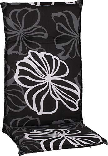 Gartenstuhlauflage Sitzkissen Polster für Hochlehner im Design Silber graue Blüten auf anthrazitem Hintergrund