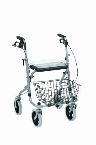Drive Medical WA015 Migo Rollator aus Stahl, 4 Räder, mit Ablage, silberfarben