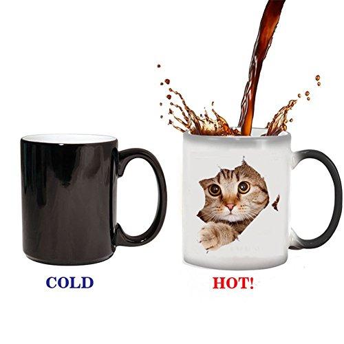 ZaH Coffee Mugs Ceramic Mug 11 oz Cup Color Changing Mug Heat Cold Hot Cups Kids Mom Dad Birthday Christmas Gift (Cat)