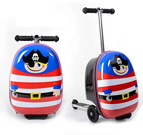 Hokaime Regalo para niños Scooter Maleta Cabina Patineta Trolley Lazy Equipaje Bolsa para niños,...
