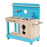 Teamson Kids TDF-00005 Little Chef Mud Outdoor Spielküche-Aqua, blau/Holz