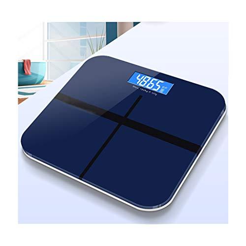 Báscula de baño de peso corporal digital antideslizante de alta precisión, báscula electrónica con tecnología Step-On, pantalla LCD retroiluminada de 3.2 in, elegante diseño de vidrio azul fác