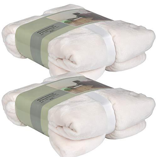 XL Kuscheldecke 180x220cm sehr Flauschig Flanell Wohndecke extra weiche Sofadecke (Creme, 2 Stück)