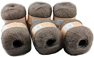 Celine lin 6 Skeins Smooth &Warm Angola Mohair Plush Cashmere Wool Knitting Yarn 300g,Camel