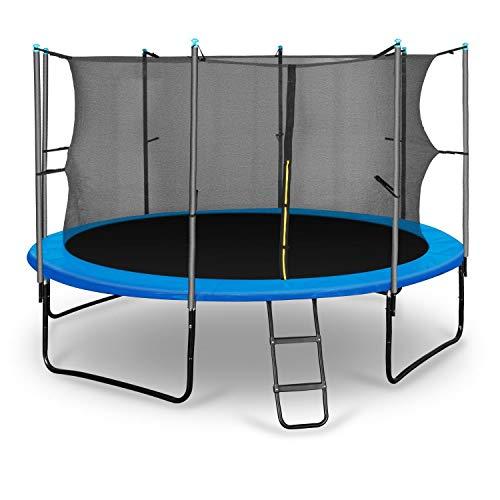 Klarfit Rocketboy 366 Cama elástica trampolin con Red de Seguridad (Superficie Base 366cm diametro, sujecion 4 Patas Doble, Varillas de sujecion Acolchadas, Lona Resistente a los Rayos UV, Protector