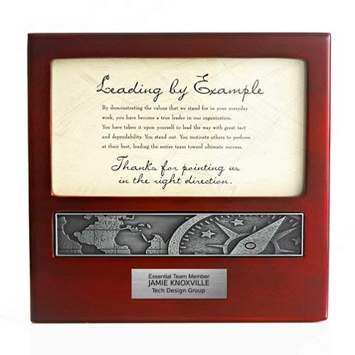 Baudville Desktop Leadership Award with Custom Engraved Metal Plaque -...