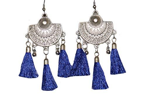 NK GLOBAL Borla Chandbali Pendientes Azul Tradicional Gota cuelga joyería de Moda India Mujer étnica Plata Tono Gancho Pendiente 1 par