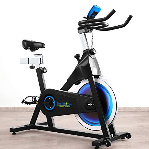 Indoor Cycling Bike Magnetic Exercise Bike Stationary with 40 LBS Flywheel, Extra Wide Seat Cushion, Adjustable Resistance and Belt Drive, for Home Workout Fitness Gym, Maximum Capacity 300 LBS