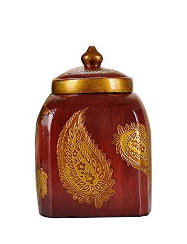 WDHWD Resina Candy Jar Interior Sala de Estar Decoración Estilo Europeo Palacio Decoración Creativa Caja de Almacenamiento Artesanía (Color: Rojo, Tamaño: A)