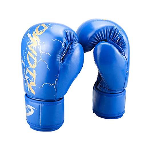 XYXZ Guantes De Boxeo MMA Boxing Gloves Niños Adultos Mujeres Hombres MMA Sanda Muay Thai Mitts Pro Punch Equipo De Entrenamiento, Azul, 8Oz