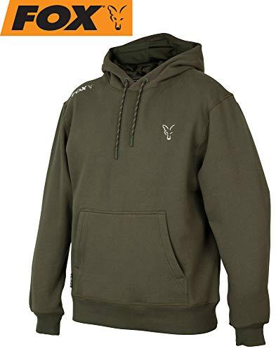 Fox Collection Green Silver Hoody - Angelpullover für Angler, Pullover für Karpfenangler, Hoddie, Kapuzenpulli, Kapuzenpullover, Größe:S