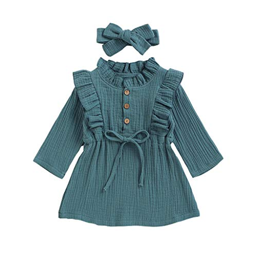 Pas Cher Vêtements enfants Été, 2-3 Ans Toddler enfants bébés filles Solid Linen Button Ruffle Princess Party Robe Vêtements Chic Cadeau Saint-Patrick