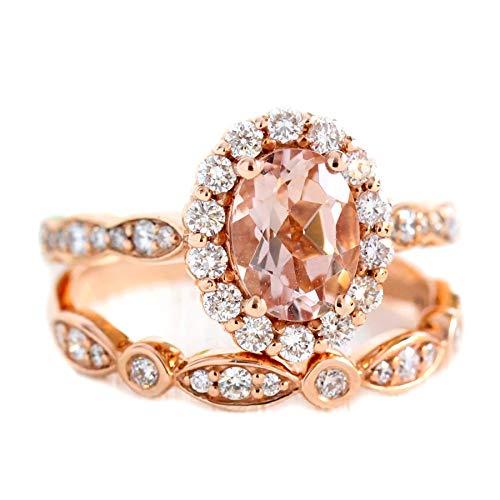 Tiara Ring 925 Sterling Silber Morganit Braut Set Stapelbarer Ring Roségold Frauen Ring (51 (16.2))