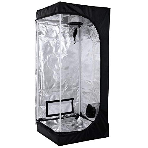 Wzz Growzelt Nicht Lichtdurchlässig, Sichtfenster Growbox Zuchtschrank Growtent Gewächszelt Zelt Homegrow Für Den Anbau Von Zimmerpflanzen, 80X80X160cm