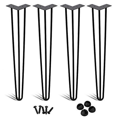 Hengda 4x Haarnadel Tischbeine Metall Hairpin Legs Heavy Duty Modern-Stil Schreibtisch Beine Möbelfüße Austauschbare Tisch und Schrank Beine Durchmesser 12 mm Schwarz 16 Zoll (40 cm)