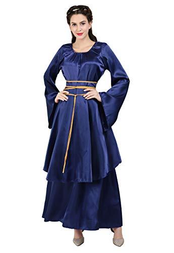 frawirshau Renaissance Costume Women Medieval Dress Satin Dresses Renaissance Faire Costumes Queen Gown Blue L