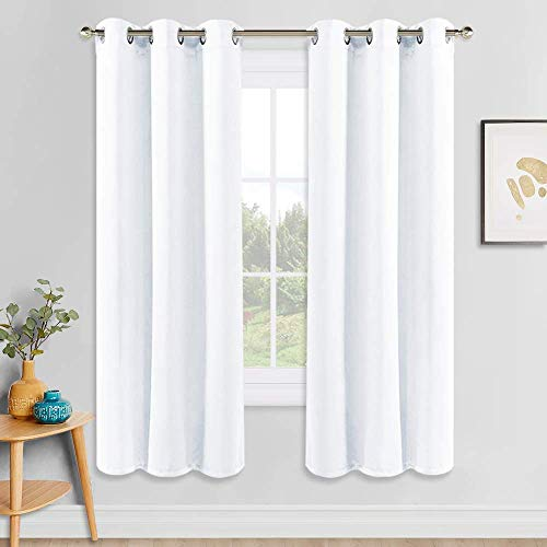 """PONY DANCE Window Treatments Curtains - Double Short Curtain Panels with Soft Fabric for Bedroom's Small Bay Windows Home Decor, W 42"""" by L 45"""", Pure White, 2 Pieces"""