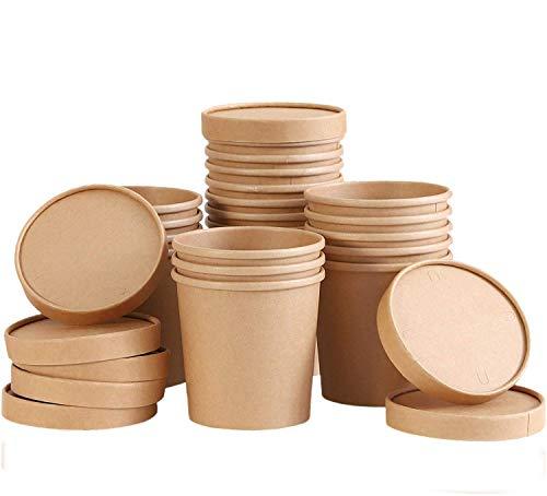 TOROTON 25 Piezas Kraft Vasos de Papel de la Sopa con Las...